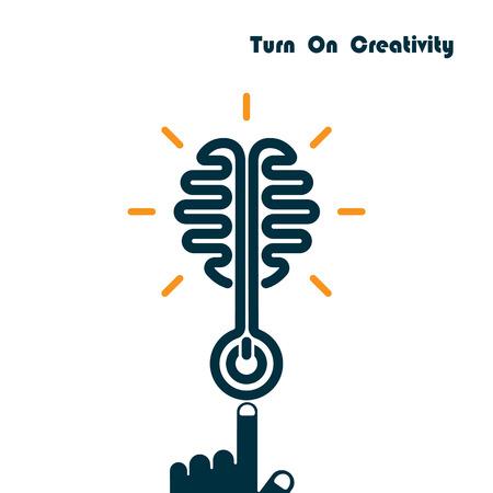 Creativity Brain Opening Concept.Creative Brain Abstract Vector Logo Design Template. Corporate Business Industrial creative logotype symbol.Vector illustration Illustration