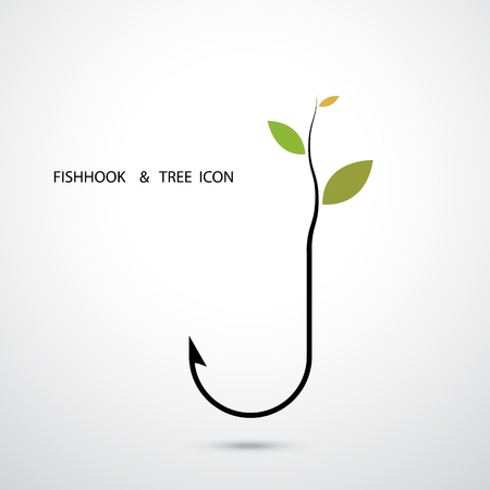 small tree: Fishhook Logo and Small Tree Icon.Plant Growing on Fishhook Icon.Green Eco Energy Concept.Fishhook Logo.Tree Logo.Green Logo.Vector illustration