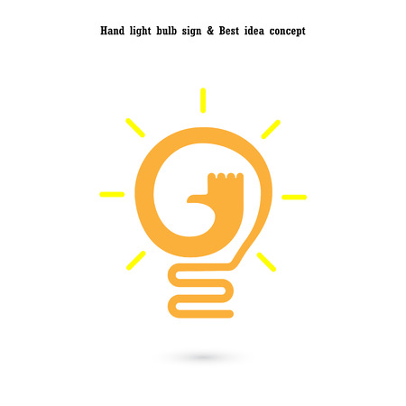 Human hand and light bulb icon vector design.The best idea concept.Good idea sign.