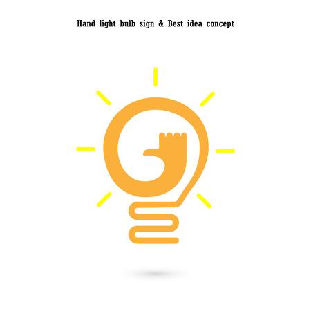 Human hand and light bulb icon vector design.The best idea concept.Good idea sign.