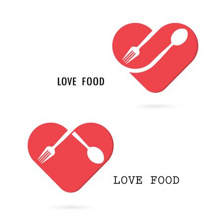 Spoon and fork logo with red heart shape vector design element.Love food logo.Restaurant menu logo.Food and drink concept.Vector illustration Illustration
