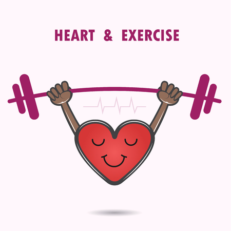 blissfulness: Smile heart shape with the barbell on background.