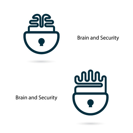inspiration education: Creative brain sign with padlock symbol. Key of success.Concept of ideas inspiration, innovation, invention, effective thinking and knowledge. Business and education idea concept. Vector illustration. Illustration