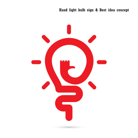 best idea: Human hand and light bulb icon vector design.The best idea concept Illustration