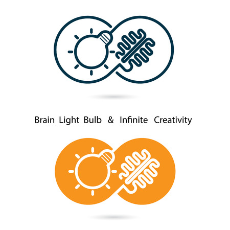 creativity logo: Brain and light bulb sign and infinite creativity logo elements design.Infinity sign.The best idea sign.Good idea logo.Business and education creative logotype symbol.Vector illustration Illustration