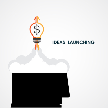 head start: Human head and rocket icon.Ideas and business launching icon.Business start up icon concept.Vector illustration Illustration