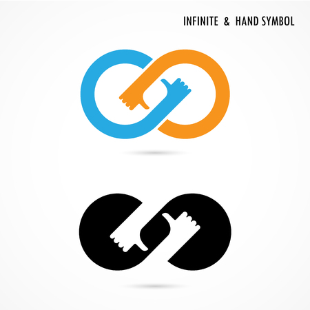 best idea: Hand sign and infinite elements design. Infinity sign. The best idea sign. Vector illustration
