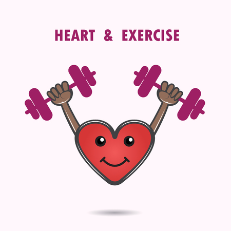 blissfulness: Smile heart shape with the barbell on background. Healthcare & Medical concept. Sport and lifestyle icon. Vector illustration