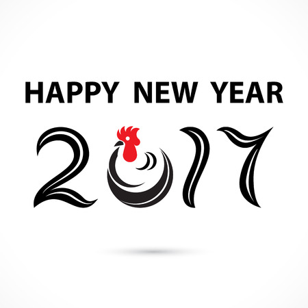 2 0: 2,0,1 and 7 and chicken sign with holiday background concept.Happy new year 2017 holiday background.2017 Happy New Year greeting card.Vector illustration Illustration