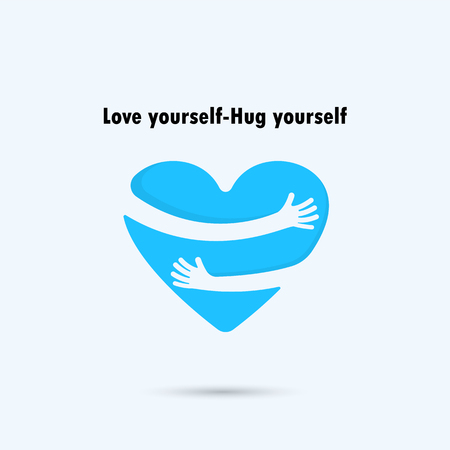 Hug yourself design.Love yourself design.Love and Heart Care design.Heart shape and healthcare & medical concept.Vector illustration