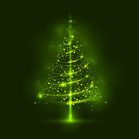 Shining christmas tree, the magic christmas tree, shinny christmas tree.Happy new year and merry christmas abstract background.Vector illustration