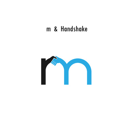 logo handshake: Creative M- letter icon abstract logo design vector template.Business offer,partnership icon.Corporate business and industrial logotype symbol.Vector illustration