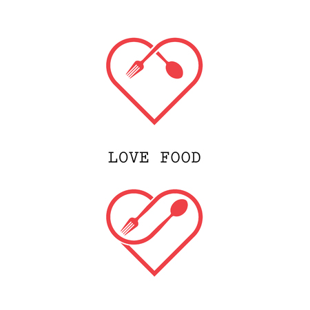 Spoon and fork logo with red heart shape vector design element.Love food logo.Restaurant menu logo.Food and drink concept.Vector illustration Vettoriali