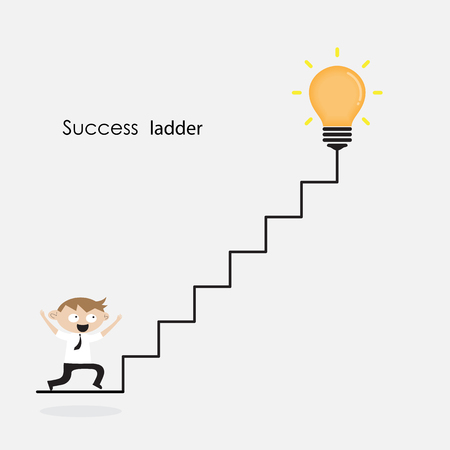 smart goals: Businessman and light bulb with ladder sign.Ladder to success concept with idea light bulb icon.Creative idea and leadership concept.Business competition icon.Vector illustration Illustration