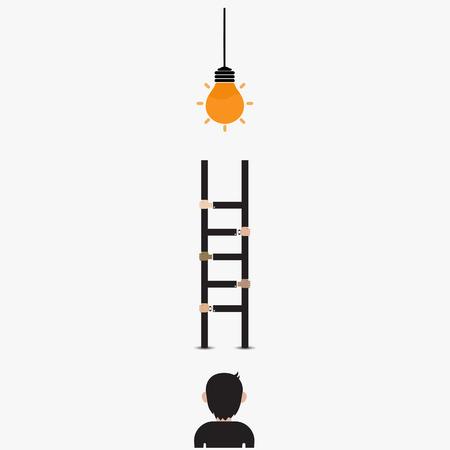 Homme d'affaires et ampoule avec le signe de l'échelle.Courant au concept de réussite avec l'icône d'ampoule idée.Création concept et le concept de leadership. Concept de partenariat et de travail d'équipe. Illustration vectorielle Vecteurs