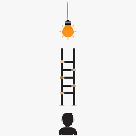 Businessman and light bulb with ladder sign.Ladder to success concept with idea light bulb icon.Creative idea and leadership concept.Partnership and teamwork concept.Vector illustration Illustration