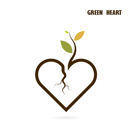 small tree: Heart sign and small tree icon with Green concept.Love nature creative logo design template.Green leaf and heart shape symbol. Ecology and Think green concept. illustration.