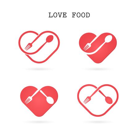 Spoon and fork logo with red heart shape  design element.Love food logo.Restaurant menu logo.Food and drink concept. illustration