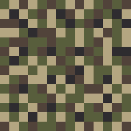 black olive: Square camouflage pattern background seamless. Classic clothing style masking camo repeat print. Green brown black olive colors forest texture.Vector illustration Illustration