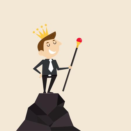 montañas caricatura: Gerente, empleado de oficina o negocios de pie en la cima de la montaña y sostienen el cetro en la mano con la corona en la cabeza. Concepto de negocio de éxito  logro  logro o leadership.Vector ilustración diseño plano Vectores