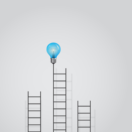 smart goals: Creative light bulb and ladder sign.Ladder to success concept with idea light bulb icon.Creative idea and leadership concept.Business competition icon.Vector illustration