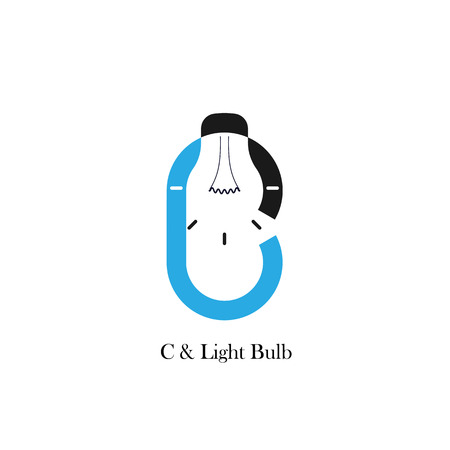 accomplish: C-letteralphabet icon and light bulb abstract logo design vector template.Corporate business and industrial logotype idea concept.Vector illustration Illustration