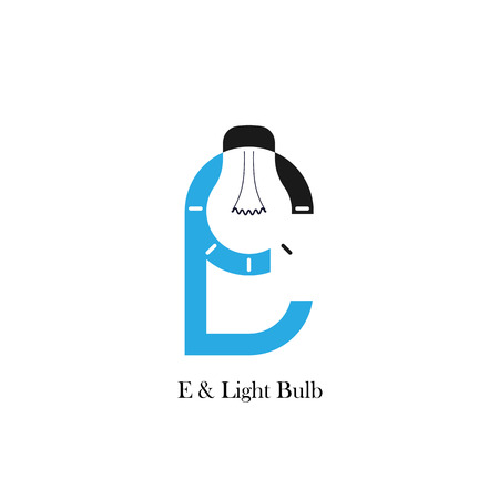 accomplish: E-letteralphabet icon and light bulb abstract logo design vector template.Corporate business and industrial logotype idea concept.Vector illustration