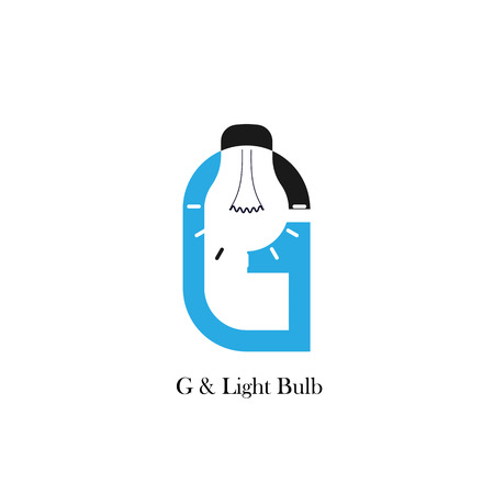 accomplish: G-letteralphabet icon and light bulb abstract logo design vector template.Corporate business and industrial logotype idea concept.Vector illustration