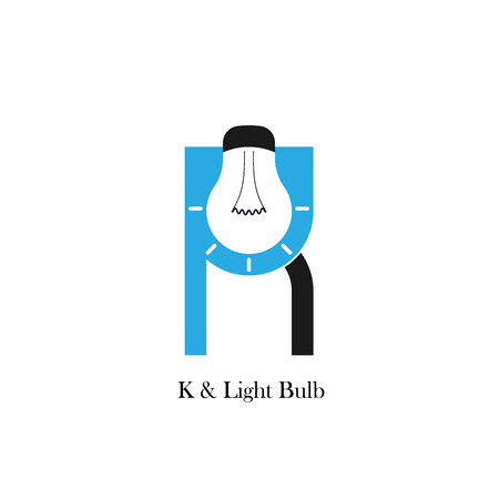 accomplish: K-letteralphabet icon and light bulb abstract logo design vector template.Corporate business and industrial logotype idea concept.Vector illustration