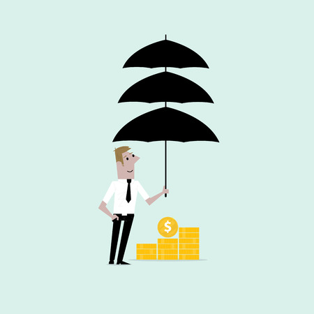 triplet: Manager,office worker or businessman with the beard holding triple umbrella over golden coins. Concept of business insurance or protection.Vector flat design illustration