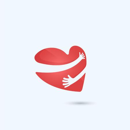Abrazar a ti mismo logo.Love mismo logo.Love y Atención icon.Heart la forma del corazón y de la asistencia sanitaria y la ilustración médica concept.Vector