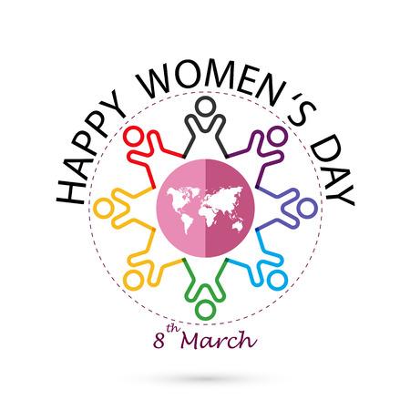Design creativo logo 8 marzo con icona della donna femminile internazionale. Simbolo di giorno delle donne. Design minimalista per la giornata internazionale femminile concept.Vector illustrazione