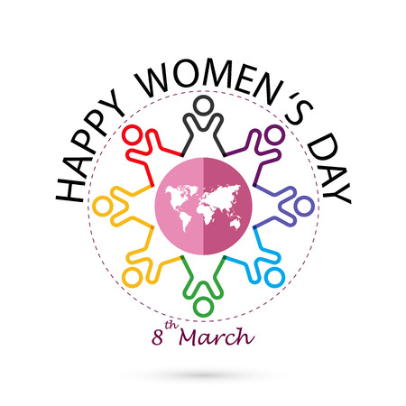 Creative 8 March logo vector design with international womens day icon.Womens day symbol.Minimalistic design for international womens day concept.Vector illustration