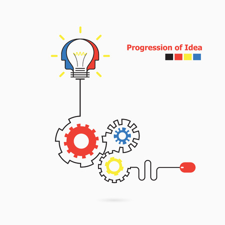 Creative light bulb symbol with linear of gear shape. Progression of idea concept. Business, education and industrial idea concept. Vector illustration