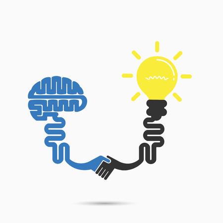 mart: Brain & light bulb symbol.Brainstorm,partnership & teamwork idea concept. Illustration