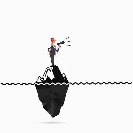Zakenman kondigen de ijsbergsjabloon risico-analyse.