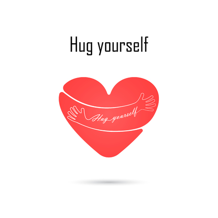 Hug yourself logo.Love yourself logo.Love and Heart Care icon.Embrace heart logo design vector template.Embracing logotype negative space icon.Heart shape and healthcare & medical concept.Vector illustration