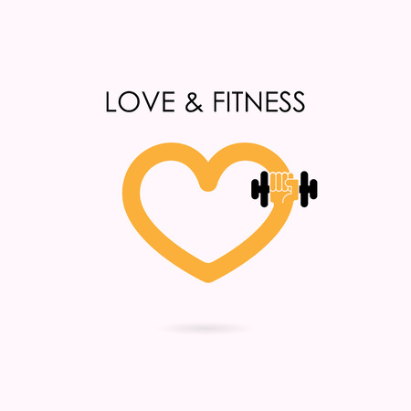 Heart Sign And Dumbbell Icontness And Gym Logosport