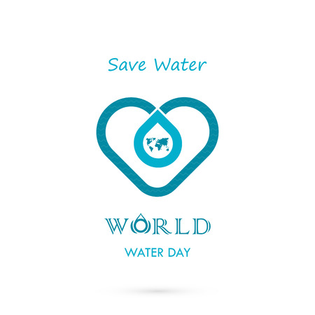 requisite: Water drop with world icon vector logo design template.World Water Day idea campaign for greeting card and poster.Vector illustration