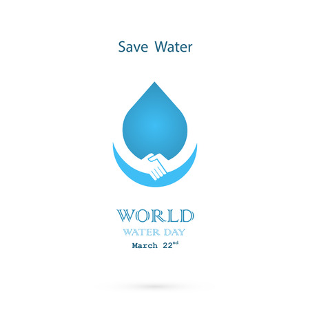 Water drop with handshake icon vector logo design template.World Water Day idea campaign for greeting card and poster.Vector illustration
