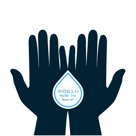 Water drop with human hand icon vector logo design template.World Water Day idea campaign for greeting card and poster.Vector illustration Illustration