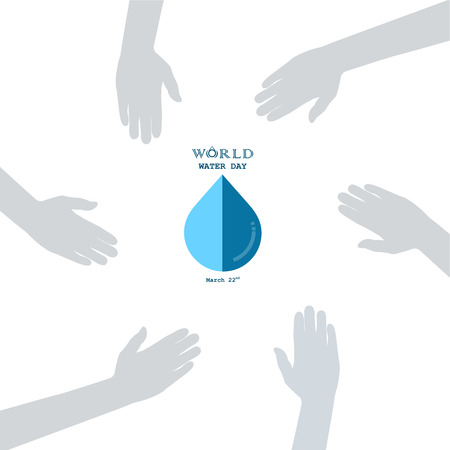 Water drop with human hand icon vector logo design template.World Water Day idea campaign for greeting card and poster.Vector illustration. Illustration