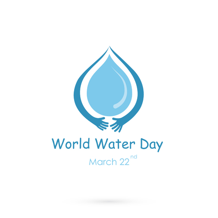 Water drop with human hand vector logo design template.World Water Day idea campaign for greeting card and poster.Vector illustration. Logó