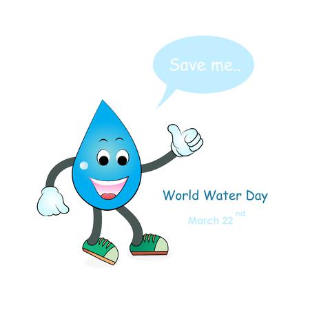 environmental awareness: World water day illustration cartoon design.Water cartoon mascot character.Water drop icon vector logo design template.World Water Day idea campaign.Vector illustration. Illustration