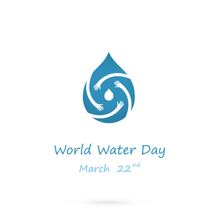 Water drop with human hand vector logo design template.World Water Day idea campaign for greeting card and poster.Vector illustration.
