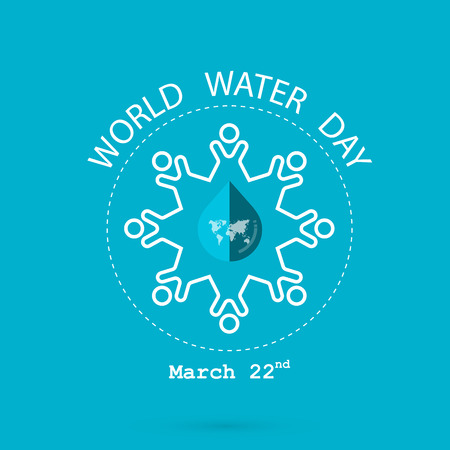 globe logo: Water drop and world map with people icon vector logo design template.World Water Day icon.World Water Day idea campaign for greeting card and poster.Vector illustration Illustration