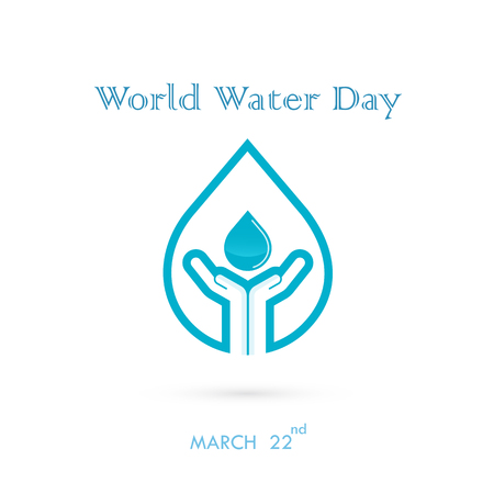 Water drop with human hand icon vector logo design template.World Water Day icon.World Water Day idea campaign for greeting card and poster.Vector illustration