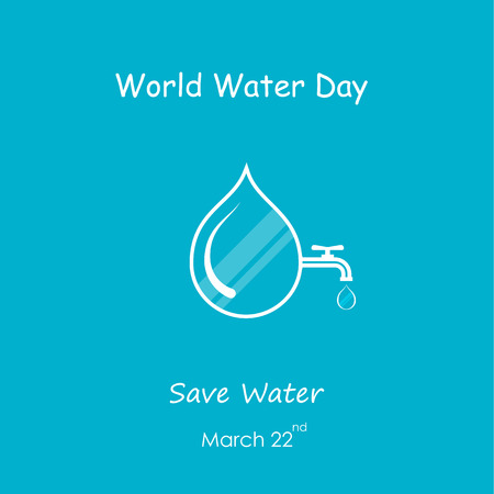 Water drop and water tap icon vector logo design template.World Water Day icon.World Water Day idea campaign concept for greeting card and poster.Vector illustration