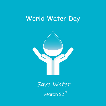 Water drop with human hand vector design template.World Water Day icon.World Water Day idea campaign for greeting card and poster.Vector illustration Ilustração
