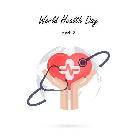Globe sign,human hand and stethoscope icon with heart shape vector logo design template.World Health Day icon.World Health Day idea campaign concept for greeting card and poster.Vector illustration Illustration